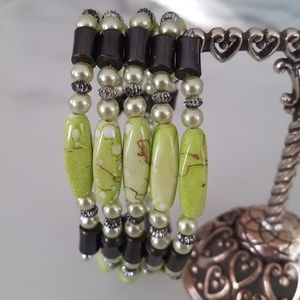 Jewelry - 2 in 1 - Lime Green Beaded Bracelet AND Necklace